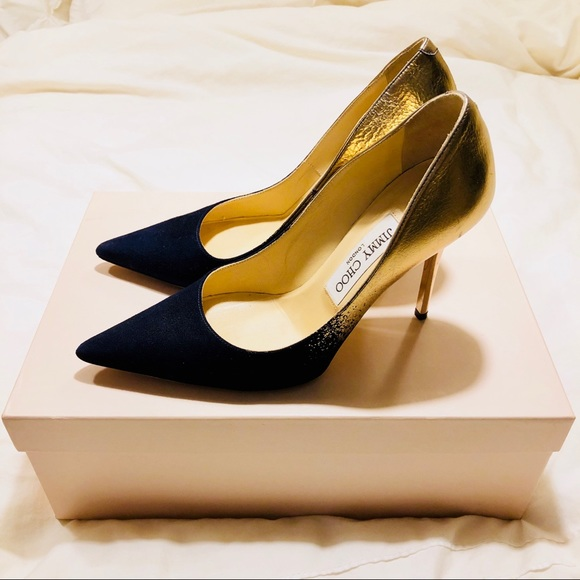 in stock professional sale size 40 Jimmy Choo Abel navy gold suede pumps, 36